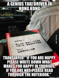 Happy Book in taxi