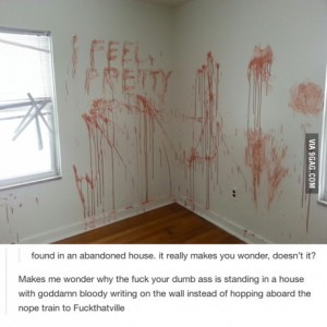 bloody wall message