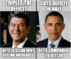 deficit comparison by president