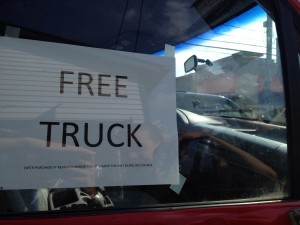 free truck with purchase