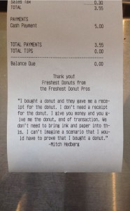 receipt for donuts