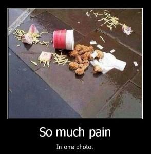 spilled fast food