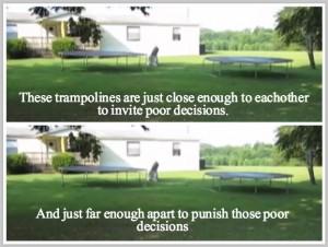 trampoline distance