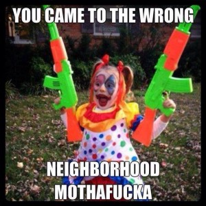 wrong neighborhood clown kid